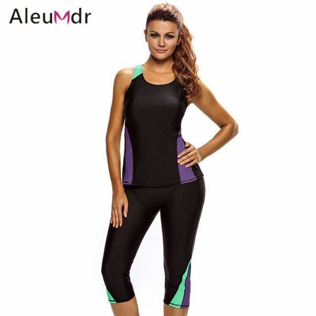 475b5d2752 Surfing Unitard Swimsuits For Women Sleeveless Top And Cropped Pants Two  Piece Bathing Suit Sea side Wetsuit