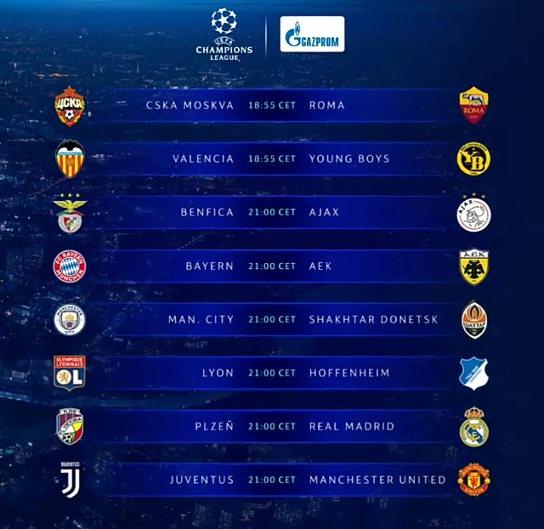 Europe Champions League Fixtures