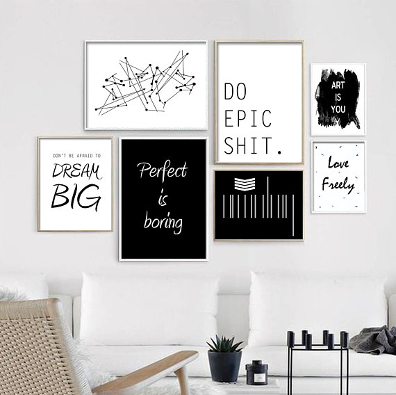 Minimalistic Quote Wall Prints Set Of 7 Artsy Art