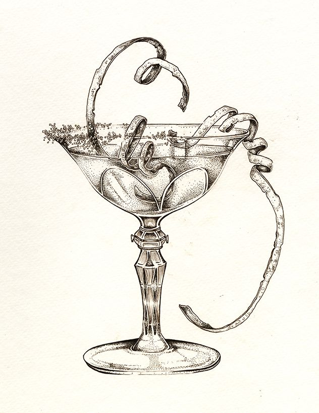 lemon drop martini sassy classy art by ellie lukova ink drawing of a cocktail glass and fruit. Black Bedroom Furniture Sets. Home Design Ideas