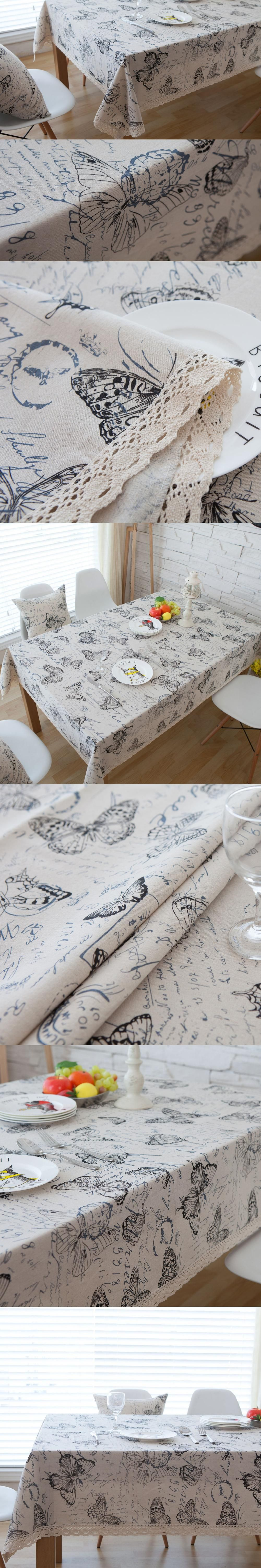 9f54419b54 OURDECOK Linen Tableclothes Butterfly Table Cloth Print Dining Table Cover  Kitchen Home Textile Home Decor Nappes
