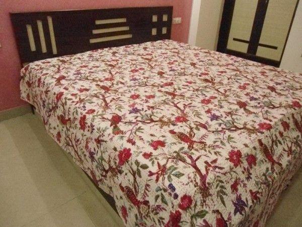 indian bird of paradise kantha bedcover