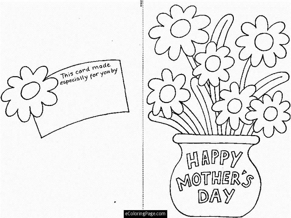 happy mothers day cut out card with flowers printable coloring page