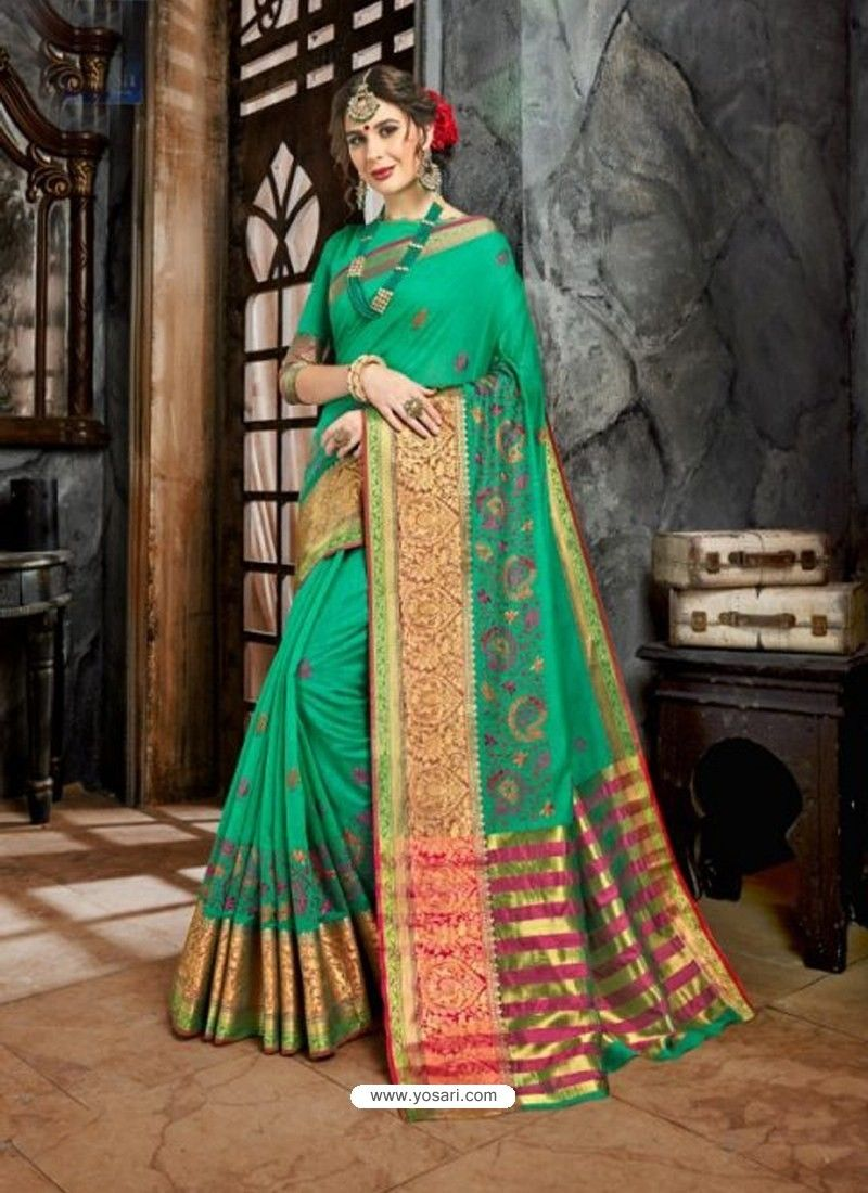 c86831d4e085bd Jade Green Embroidered Designer Cotton Silk Saree