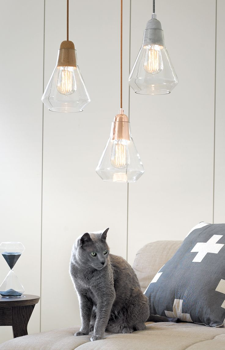 The Beacon Lighting Ando Pendant With Copper Lampholder And Clear Covered  Copper Cabling And Glass Shade