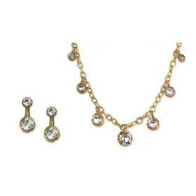 Catherine Popesco 14K Gold Plated Set of Necklace and CLIP Earrings with Prong Set Clear Swarovski Crystals