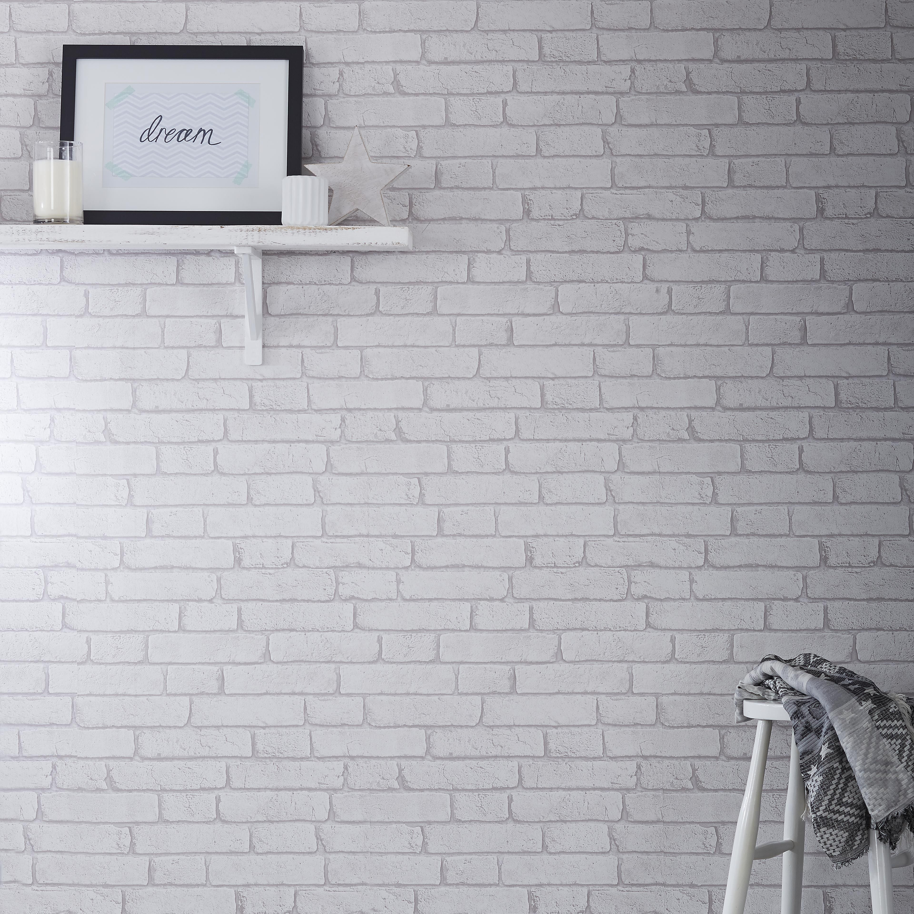 Use Wallpaper As An Affordable Way To Create The Brickwork Look In Your Home Brick Wallpaper Diy Brick Wall Wallpaper Diy Wallpaper