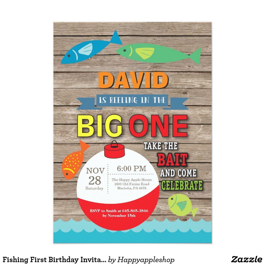fishing first birthday invitation big