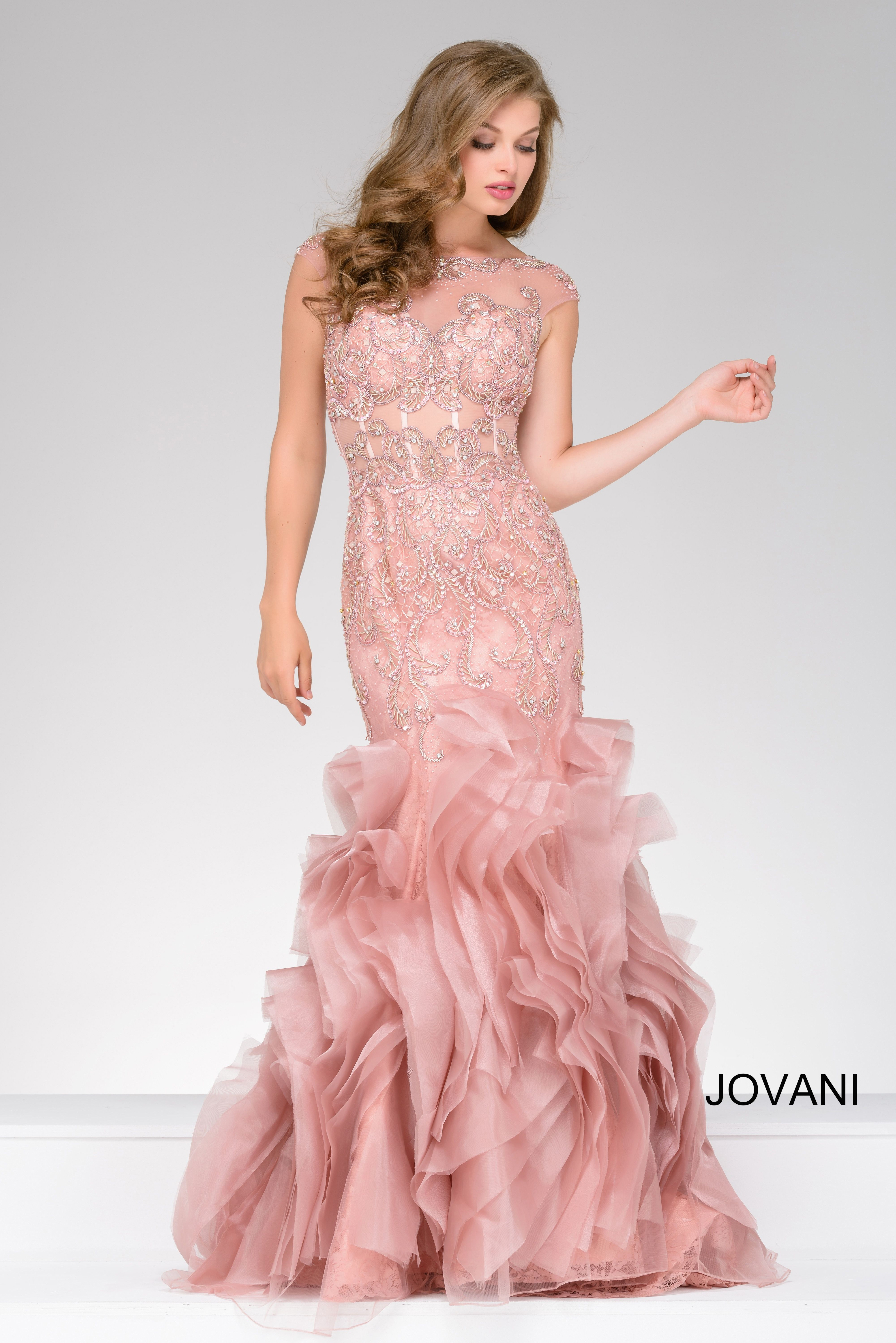 Rosey and ruffled in Jovani 40682 available at WhatchamaCallit ...