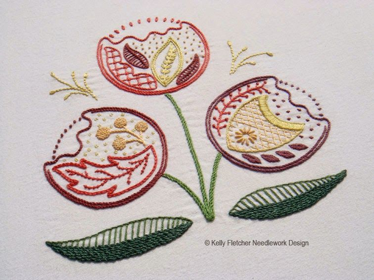 Materialistic new modern jacobean hand embroidery