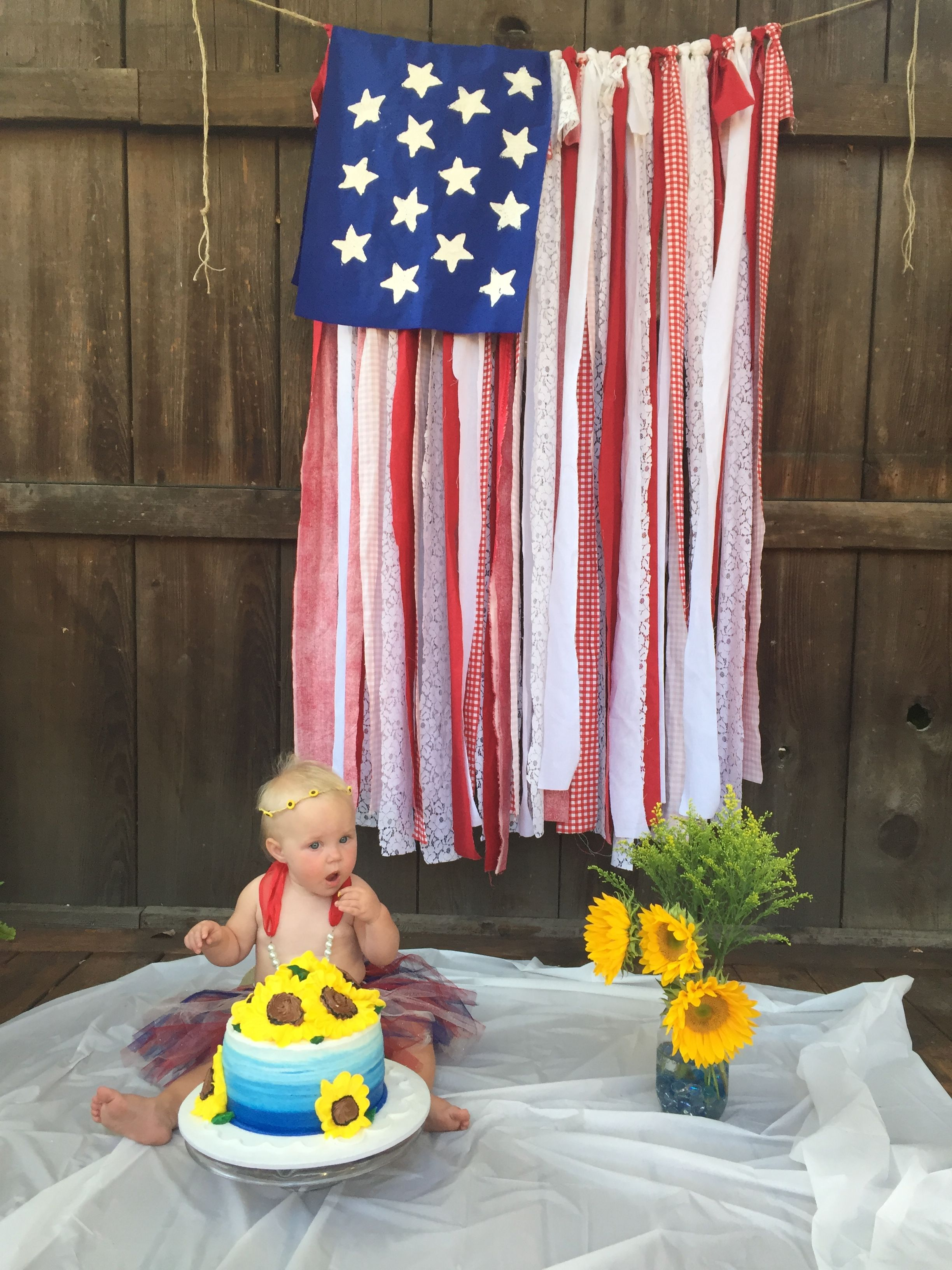 First Birthday Cake Smash American Flag Fabric Flag Sunflower