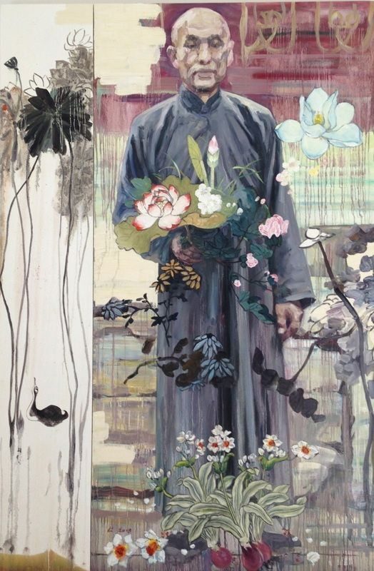 Hung Liu - Contemporary Artist - Figurative Painting - The Botanist