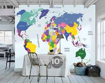 From dreamywall httpsetsylisting227253198removable world map removable wallpaper peel and stick map wall sticker study room ocean wall paper aqua blue custom temporary wall murals gumiabroncs Gallery