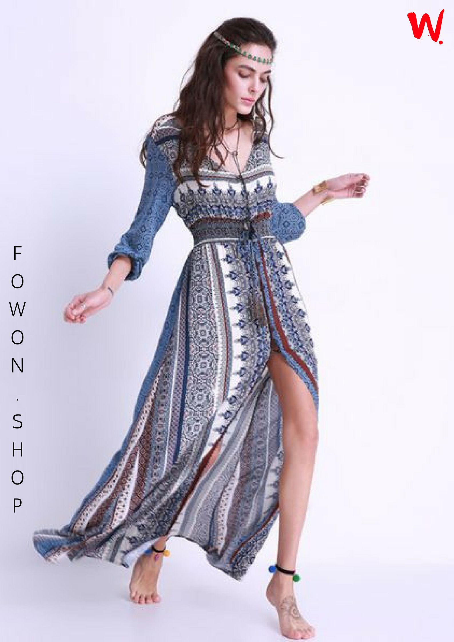 Shop this printed elastic waist slit long sleeve dress from fowon