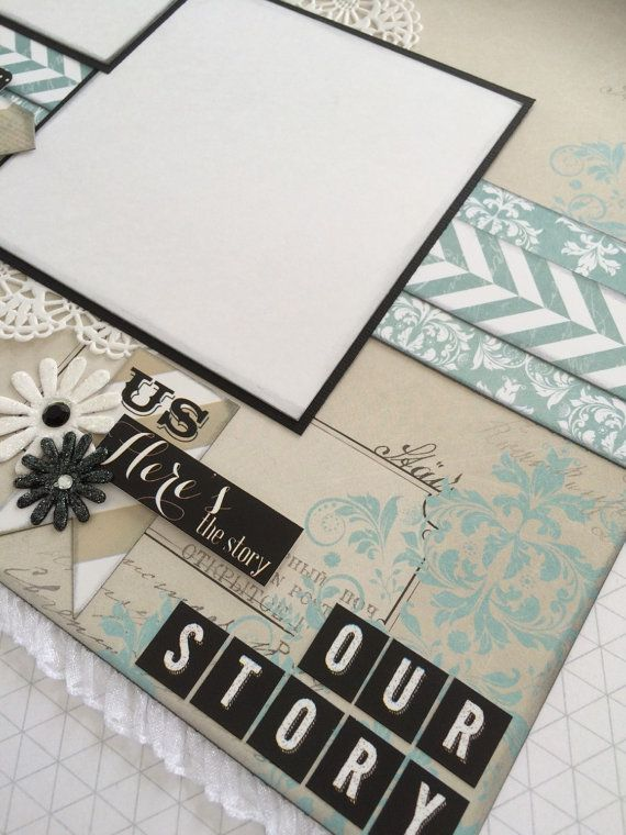 Scrapbook Page Kit titled 'Our Story' by ByrdsNestPaperie on Etsy