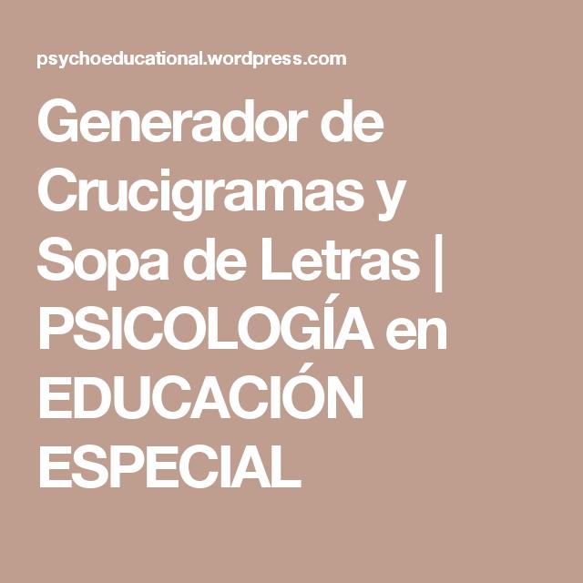 Generador de Crucigramas y Sopa de Letras   Generador de crucigrama ...