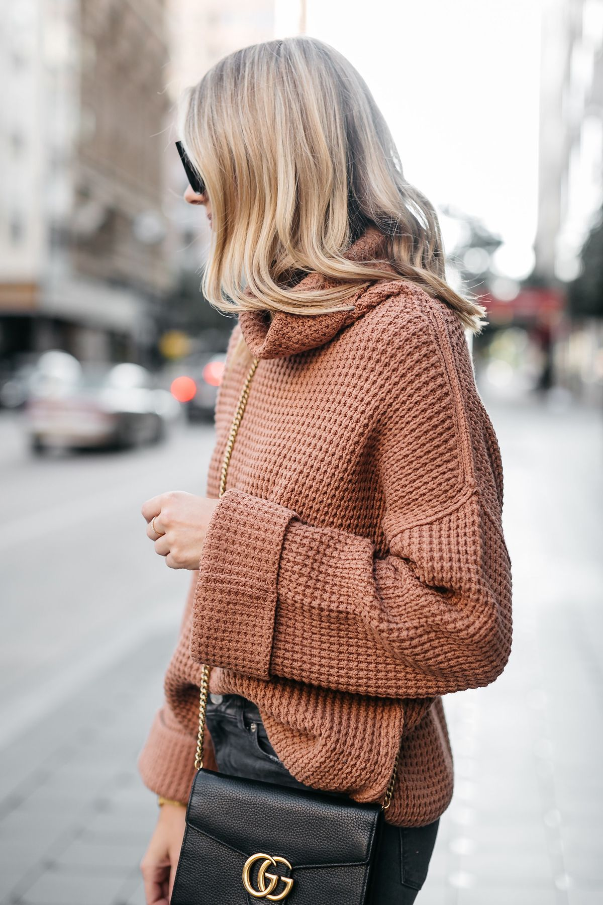 Fashion Jackson Oversized Sweater Free People Park City Pullover Tan  Sweater Gucci Marmont Handbag 2 8a6de3fde