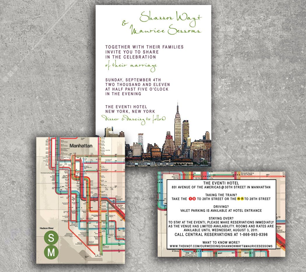 New York Empire State Subway Wedding Invitation or Save the Date ...