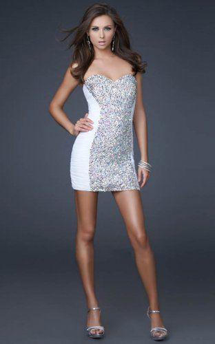 32dbbdd3a19e La Femme 16368 Cheap Strapless Tight Mini Dress White