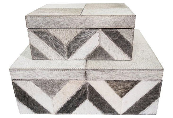 Asst Of 2 Palisades Boxes Gray Small 9 X 7 X 4 Large 13 X 10 X 5 These Are Covered W Cowhide I D Prefer Painted Wo Decor Burke Decor Tray Decor