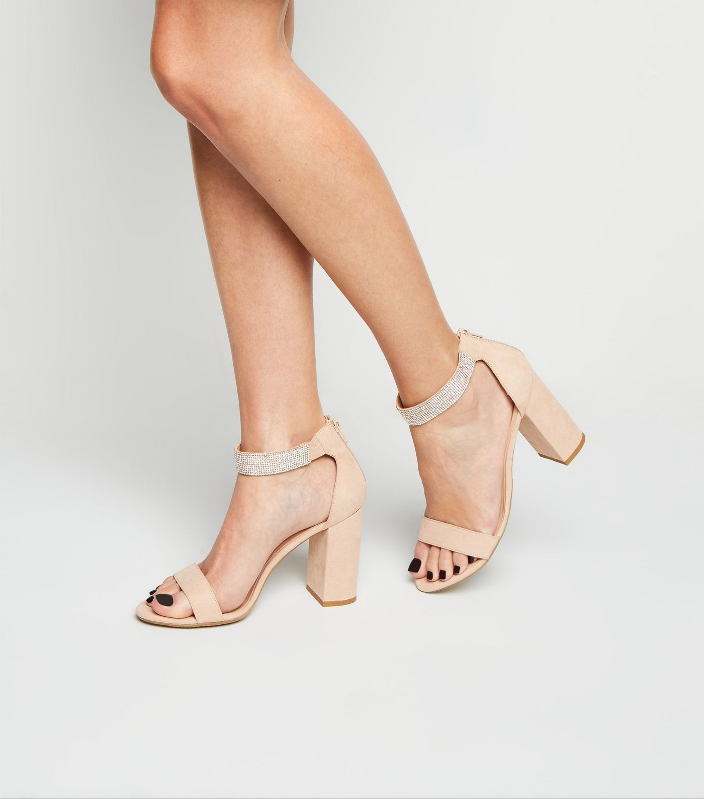 Wide Fit Cream Diamante Strap Block Heel Sandals New Look Block Heels Sandal Sandals Heels Heels