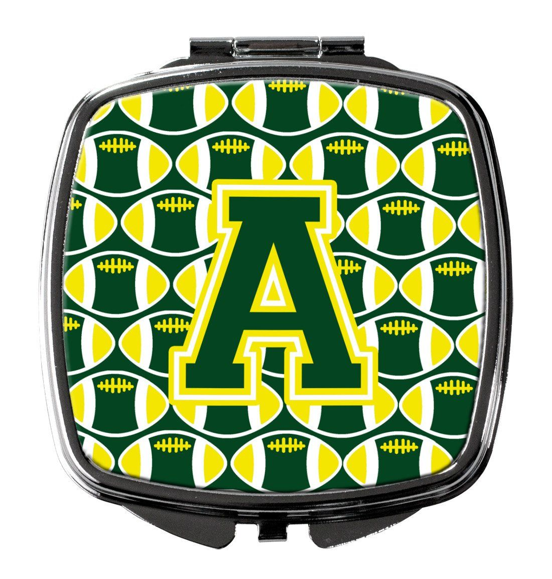 Letter A Football Green and Yellow Compact Mirror CJ1075-ASCM