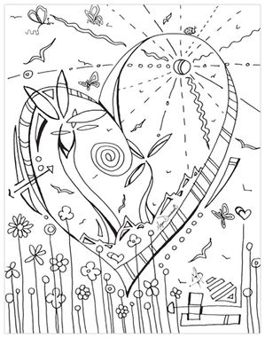 Whimsical Heart Flowers Free Coloring Page Download For Adults