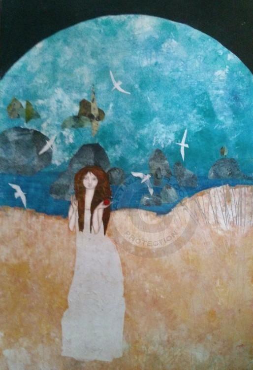 PIRATA - Pintura,  75x100 cm ©2013 por almudena arias parera -                                                            Pintura contemporánea, Lienzo, Mujeres, MUJERES