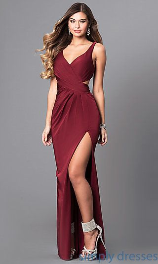Long Formal Cut-Out Prom Dress with V-Neckline