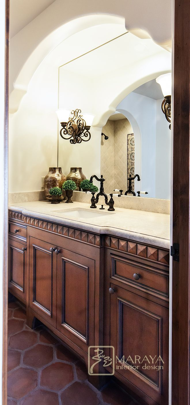 Maraya Interiors Spanish Style Bath With Vanity Moldings And Plaster Arches Spanish Style Bathrooms Bathroom Styling Spanish Bathroom