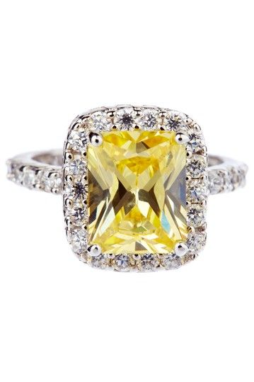 Emerald cut canary yellow ring.  engament ring.