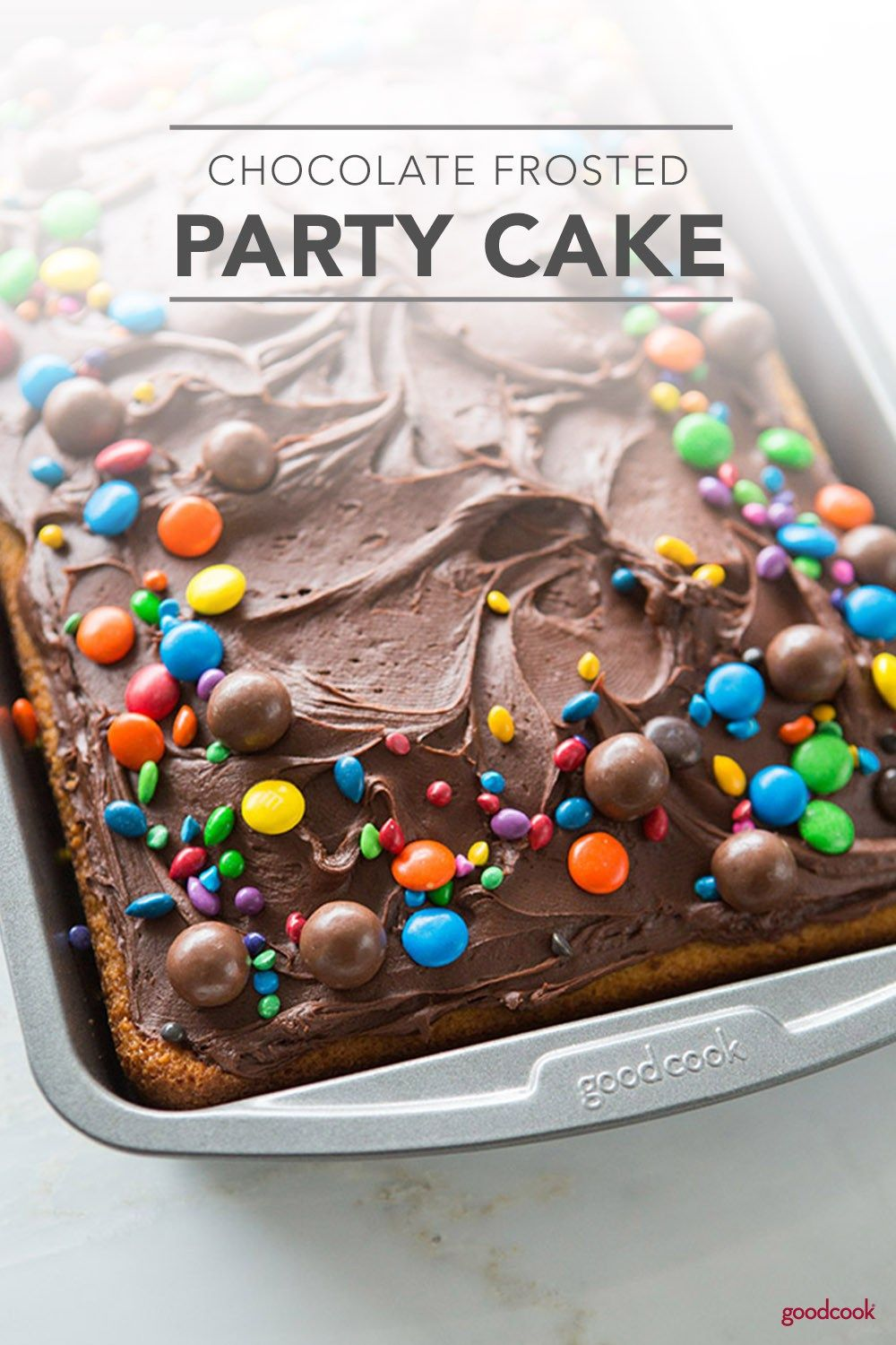 A chocolate lovers favorite, this Chocolate Frosted Party Cake calls for a festive celebration. Perfect for birthdays, anniversaries, and other special occasions, this crowd-pleasing Chocolate Frosted Party Cake is a simple and delicious way to celebrate.