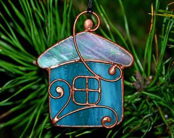 Stained glass ornament, Christmas decoration, glass house, glass ornaments, Christmas gift, suncatcher, Tiffany, glass decor #StainedGlassFairy