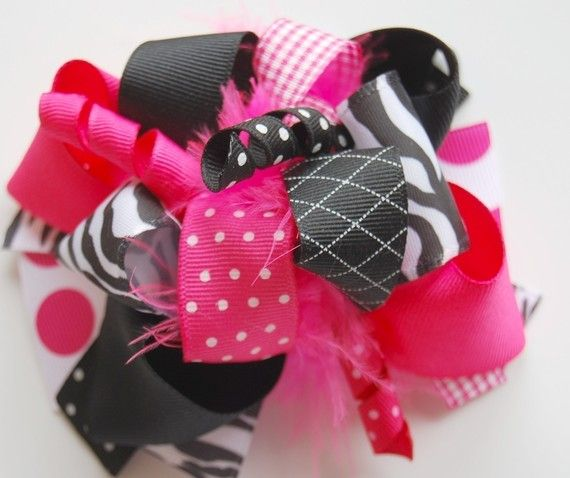 Very Fun for a small someone I know.  :)    boutique SASSY ZEBRA FUNKY fun hair bow clip by andjane on Etsy, $12.99