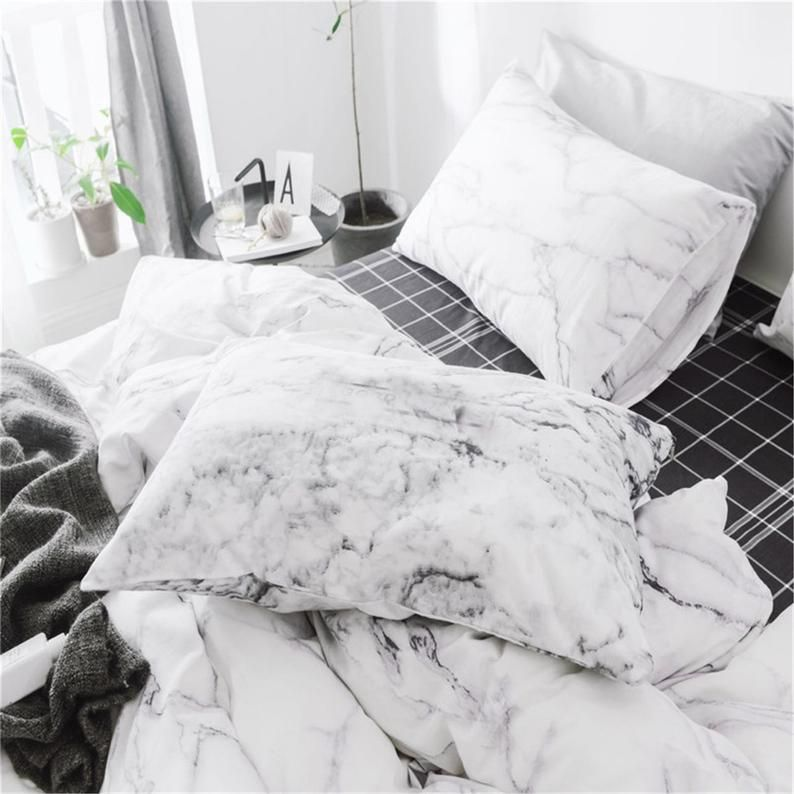 100 Cotton Duvet Cover Set Super Soft Bedding Set White Etsy Duvet Cover Sets Marble Duvet Cover 100 Cotton Duvet Covers