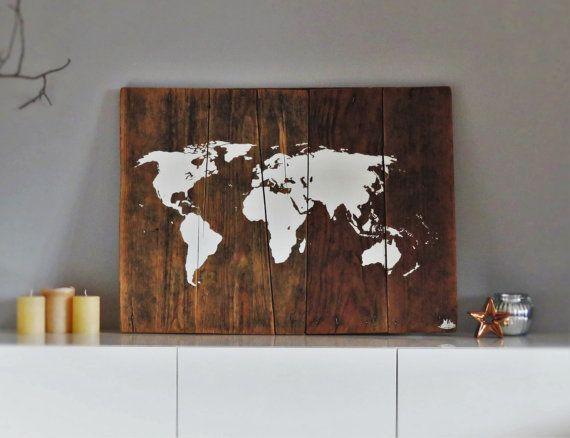 World map on wood rustic wall decor rustic world by woodallgood world map on wood rustic wall decor rustic world by woodallgood gumiabroncs Gallery