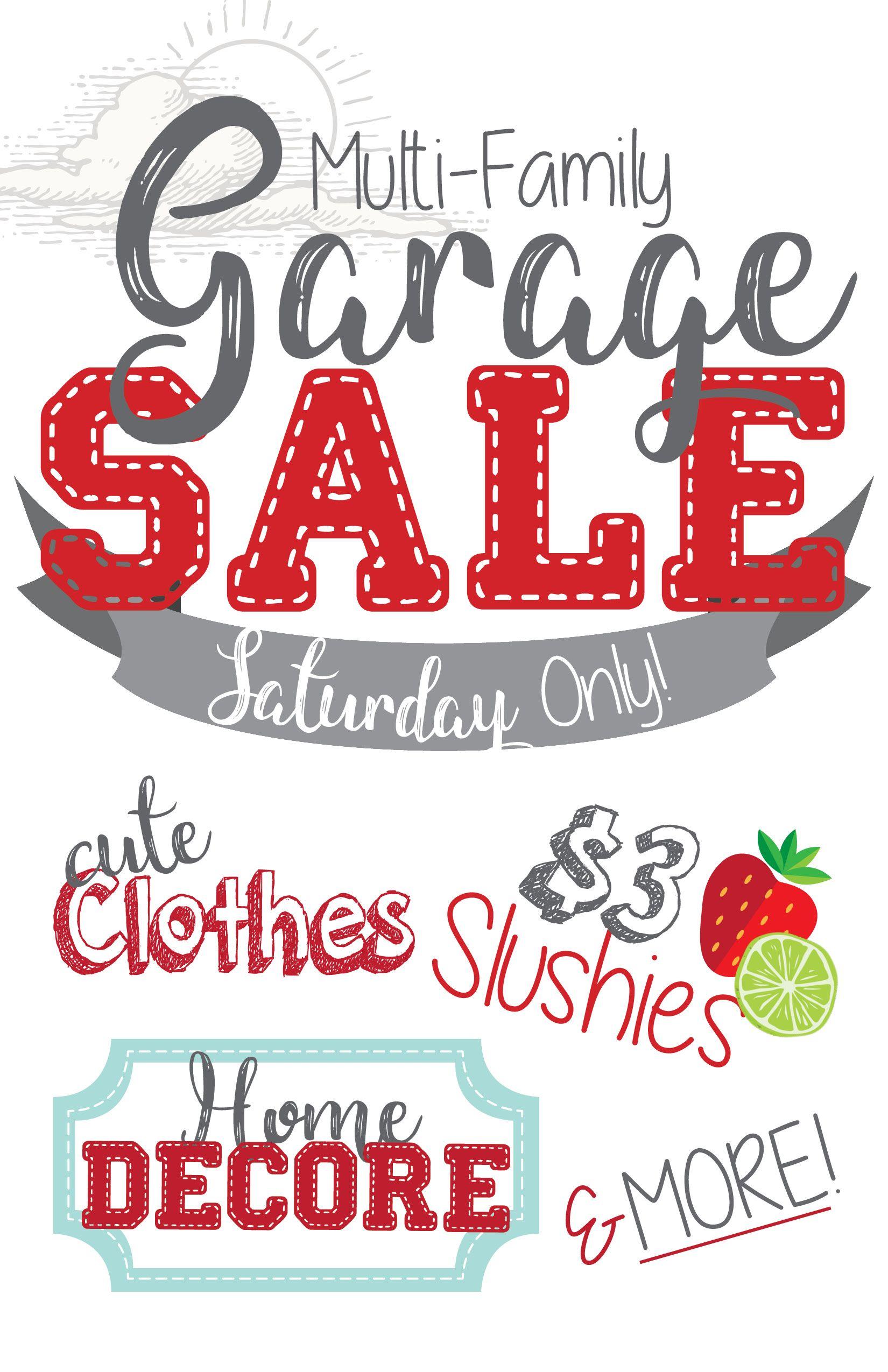 garage yard rummage sale sign multi family [ 1650 x 2550 Pixel ]