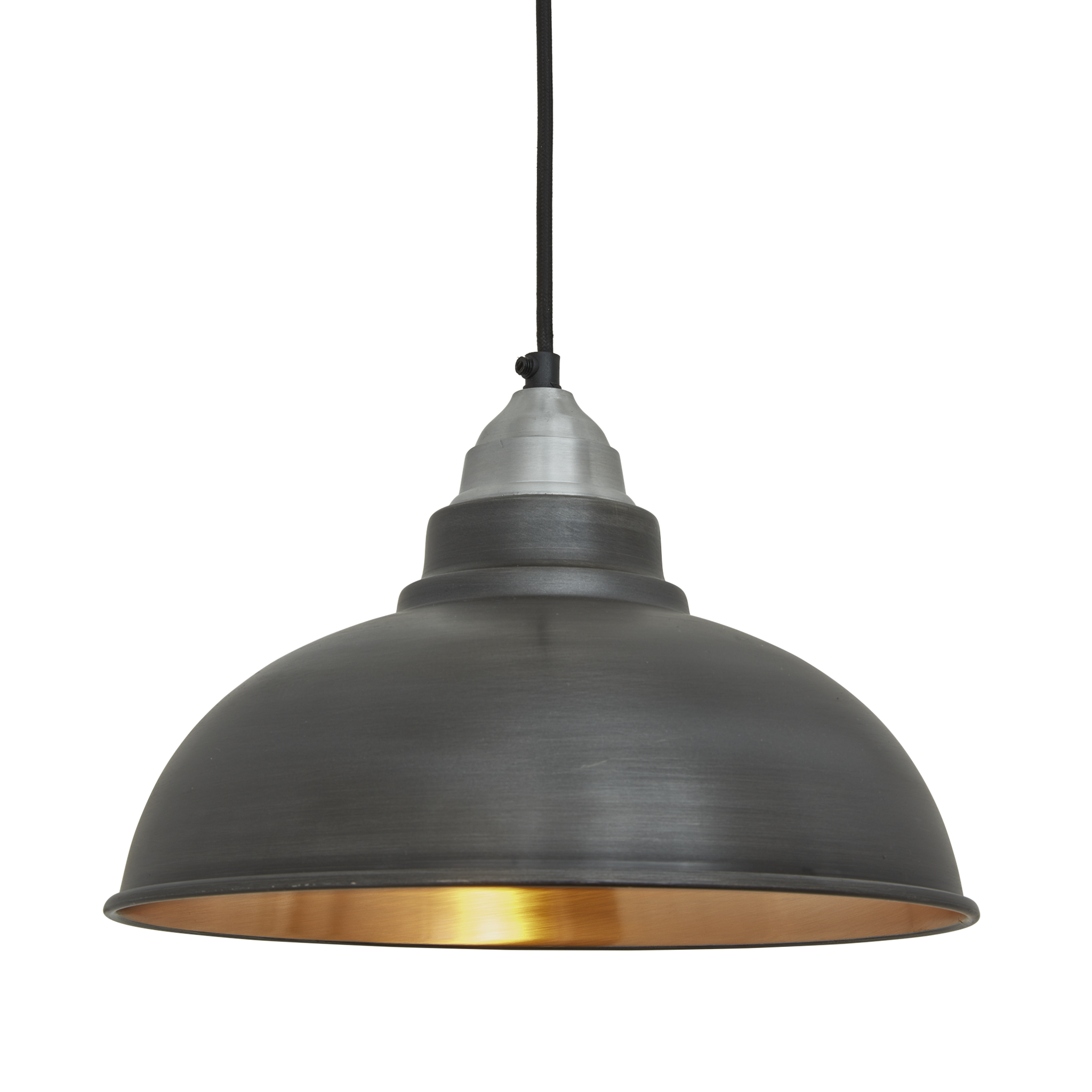 Old Factory Vintage Pendant Light Dark Pewter And Copper