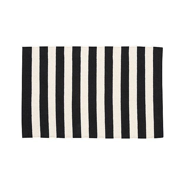 Olin Black Striped Cotton Dhurrie 2 X3 Rug Crate And