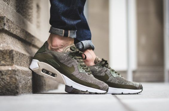Look For The Nike Air Max 90 Ultra 2 0 Flyknit Medium Olive Now Kicksonfire Com Nike Air Max Dress Shoe Bag Nike Free Shoes