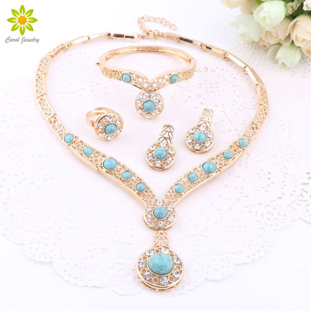 African beads gold color nigerian wedding jewelry sets crystal