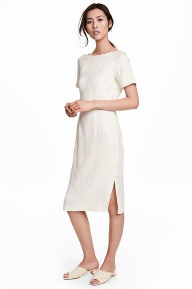 Jacquard-weave dress - Natural white - Ladies | H&M CA 1