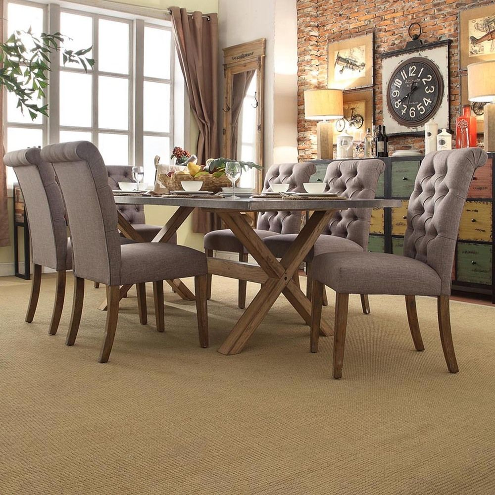 INSPIRE Q Aberdeen Industrial Zinc Top Weathered Oak Trestle Rolled Back 7-Piece Dining Set - Overstock™ Shopping - Big Discounts on INSPIRE Q Dining Sets