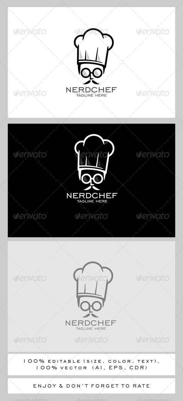 nerd chef logo vector eps quality funny available here