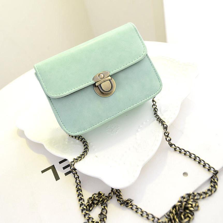 New Fashion Crazy Buying women PU leather handbags lovely retro chain shoulder strap women messenger bags