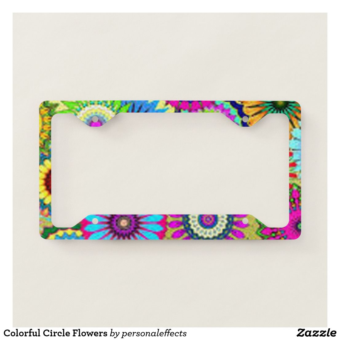 Colorful Circle Flowers License Plate Frame - flower, flowers ...