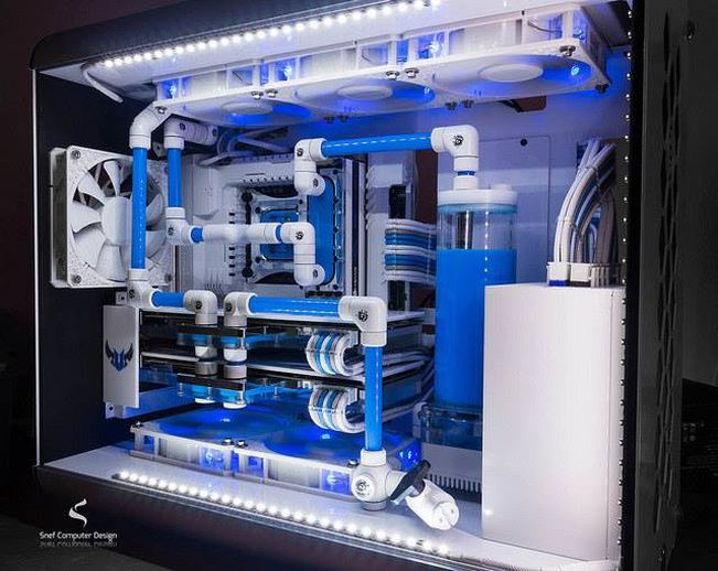 pc modders custom gaming pc case mods australasia icy blue angel ii by snef computer buildgaming