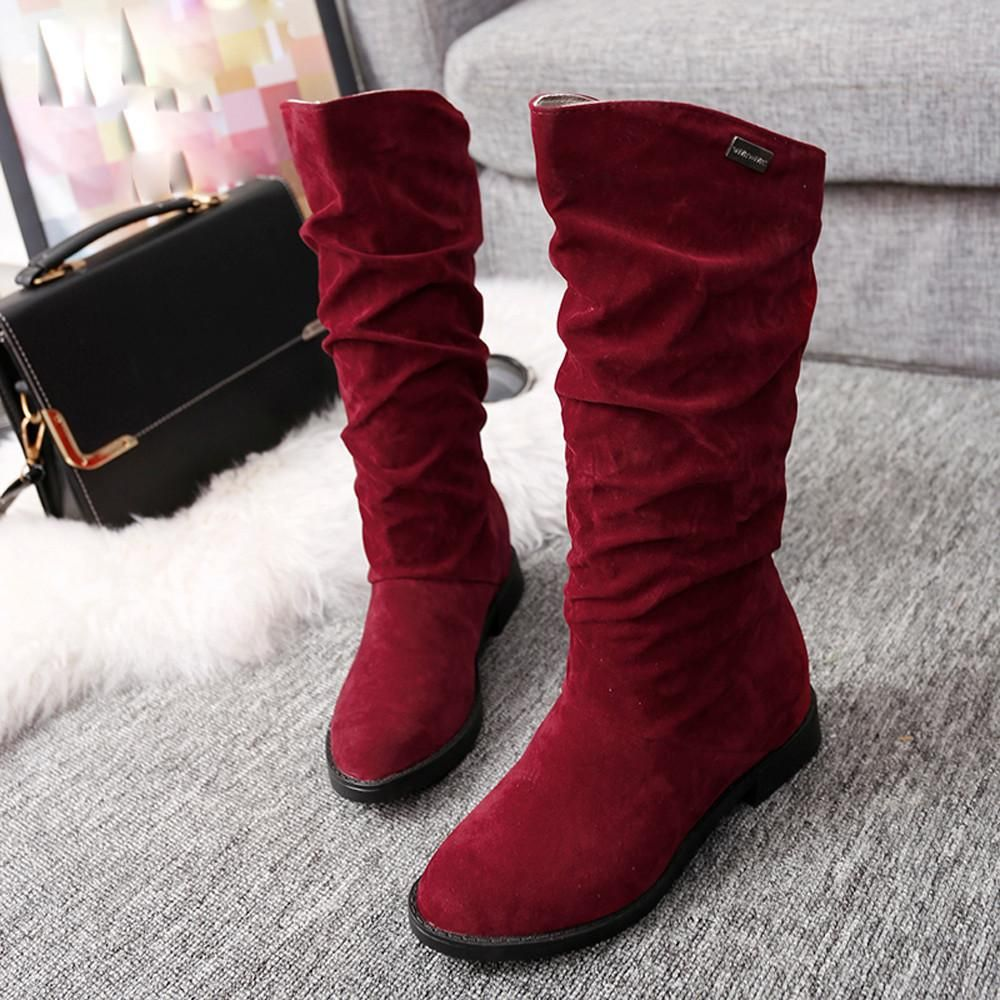 Womens Autumn Or Winter Knee High Boots Sz 4 9 3 Colors Free Flat Boot Suede 2cm 35 40 Shipping
