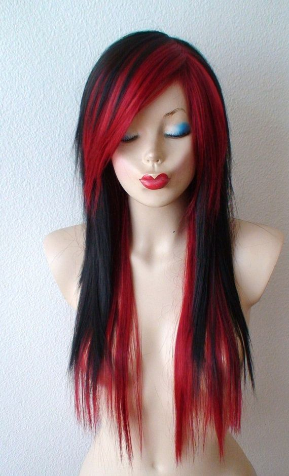 scene wig black wine red scene hairstyle wig emo by
