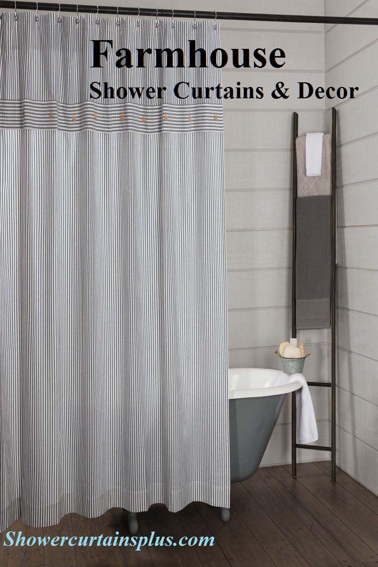 The Farmhouse Style Bathroom Farmhouse Shower Curtain Striped